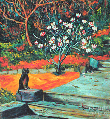 Old Bear Cat And Blooming Magnolia Tree Poster by Asha Carolyn Young