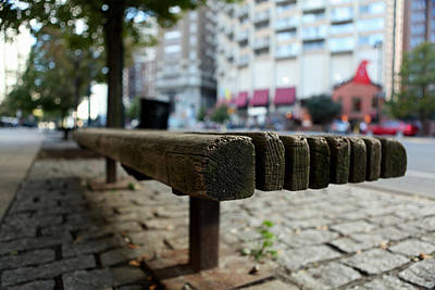 Poster featuring the photograph Old Bench In Philadelphia by Dorin Adrian Berbier