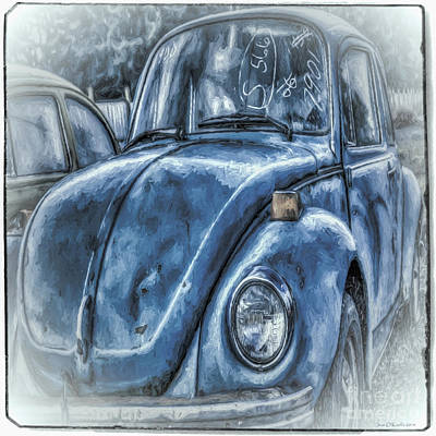 Poster featuring the photograph Old Blue Bug by Jean OKeeffe Macro Abundance Art