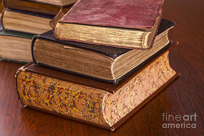 Old Books On Dark Wood Background Poster