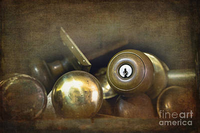 Old Brass Door Knobs Poster by Jane Rix