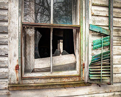 Old Broken Window And Shutter Of An Abandoned House Poster by Gary Heller