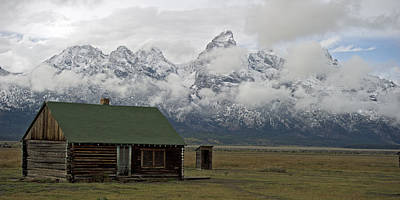 Old Cabin In  Grand Tetons Poster