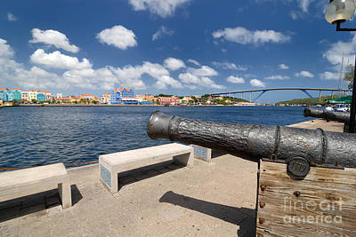 Old Cannon And Queen Juliana Bridge Curacao Poster by Amy Cicconi
