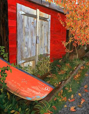 Poster featuring the painting Old Canoe by Lynne Reichhart
