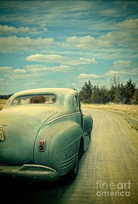 Old Car On Dirt Road Poster by Jill Battaglia