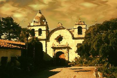Old Carmel Mission - Watercolor Drawing Poster by Art America Gallery Peter Potter