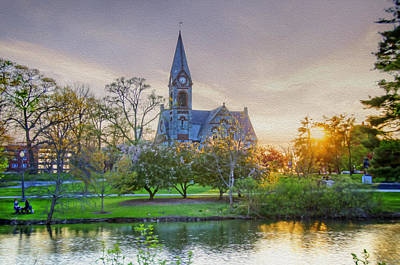 Old Chapel At Sunset Poster by Donna Doherty