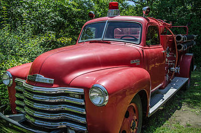 Old Chevy Fire Engine Poster