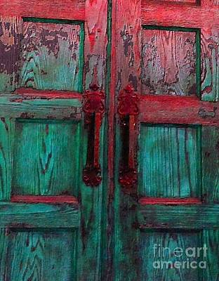 Poster featuring the photograph Old Church Door Handles by Becky Lupe