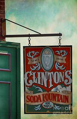 Old Clinton's Soda Fountain Sign Poster