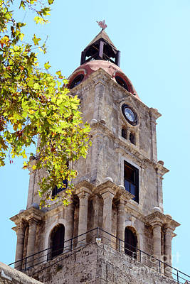 Old Clock Tower In Rhodes City Greece Poster