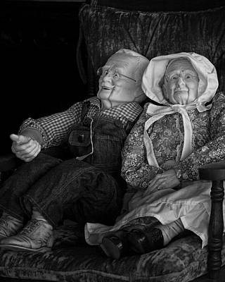 Old Couple Mannequins In Shop Window Display Poster