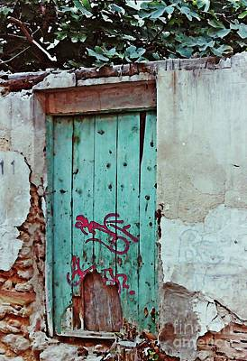 Old Door And Graffiti In Lorca Poster by Sarah Loft