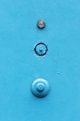 Old Door With A Doorbell And Peephole Poster by Mikel Martinez de Osaba