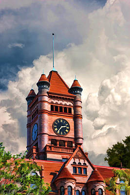 Old Dupage County Courthouse Clouds Poster