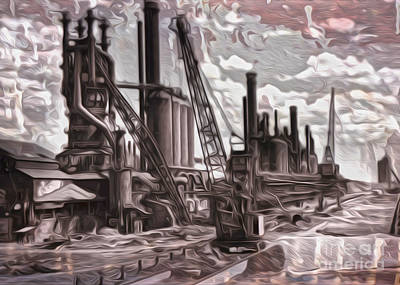 Poster featuring the painting Old Factory by Gregory Dyer