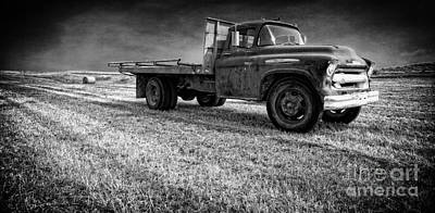 Old Farm Truck Black And White Poster by Edward Fielding