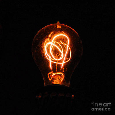 Old Fashioned Edison Lightbulb Filaments Macro Accented Edges Digital Art Poster
