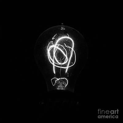 Old Fashioned Edison Lightbulb Filaments Macro Black And White Poster by Shawn O'Brien