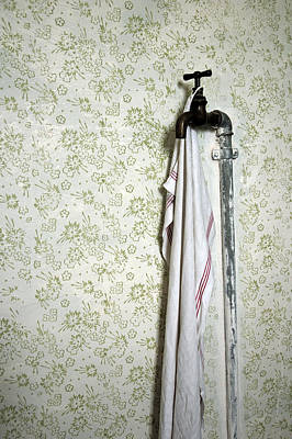 Old Fashioned Faucet And Flowery Wallpaper Poster