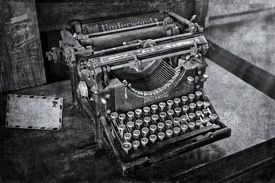 Old Fashioned Underwood Typewriter Bw Poster by Susan Candelario