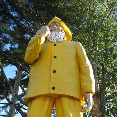 Old Fisherman Statue Boothbay Harbor Maine Poster