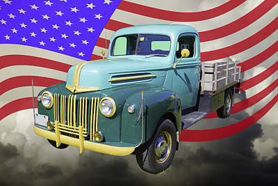 Old Flat Bed Ford Work Truck And American Flag Poster
