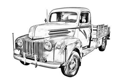 Old Flat Bed Ford Work Truck Illustration Poster
