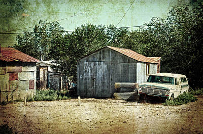 Old Garage And Car In Seligman Poster by RicardMN Photography