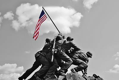 Old Glory At Iwo Jima Poster by Jean Goodwin Brooks