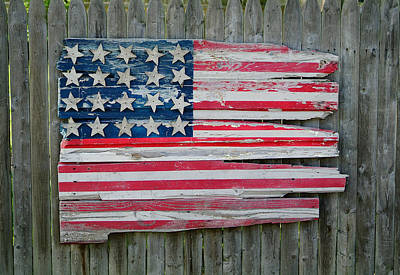 Old Glory In Wood Poster by Jack Daulton