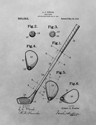 Old Golf Club Patent Illustration Poster by Dan Sproul