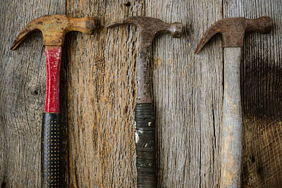 Old Hammers On Rustic Wood Background Poster by Brandon Bourdages