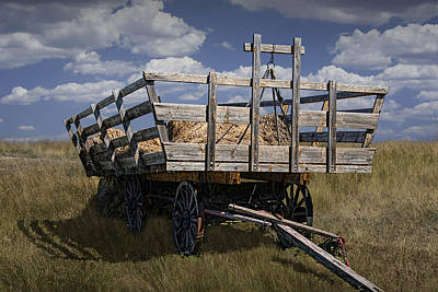 Old Hay Wagon In The Prairie Grass Poster