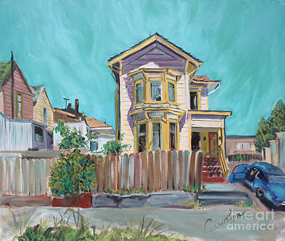 Poster featuring the painting Old House In East Oakland by Asha Carolyn Young
