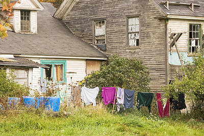 Old House With Laundry Poster