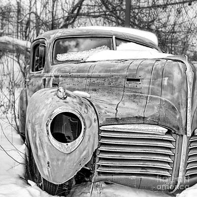 Old Hudson In The Snow Black And White Poster