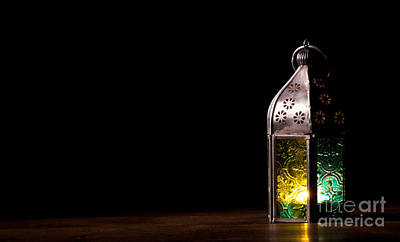 Old Lantern With Candle Poster