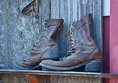 Old Leather Boots Still Life Poster