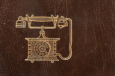 Old Leather Telephone Book Poster by Modern Art Prints