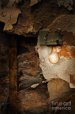 Old Light Fixture On Wall Of Abandoned Building Poster by Jill Battaglia