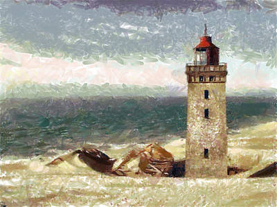Poster featuring the painting Old Lighthouse by Georgi Dimitrov