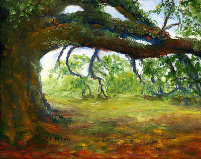 Poster featuring the painting Old Louisiana Plantation Oak Tree by Lenora  De Lude
