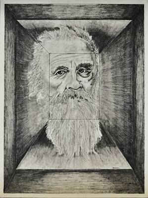 Old Man Head In Box Poster by Glenn Calloway