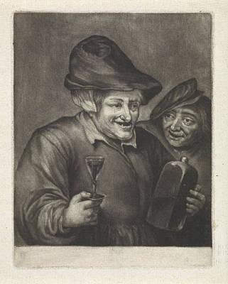 Old Man With A Bottle And A Glass Version Poster by Jan Van Der Bruggen