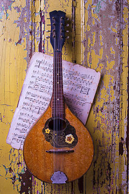 Old Mandolin With Sheet Music Poster