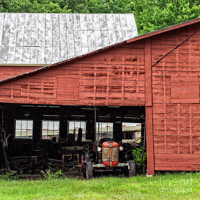 Old Massey Ferguson Red Tractor In Barn Poster