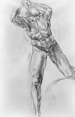Old Masters Study Nude Man By Annibale Carracci Poster by Irina Sztukowski