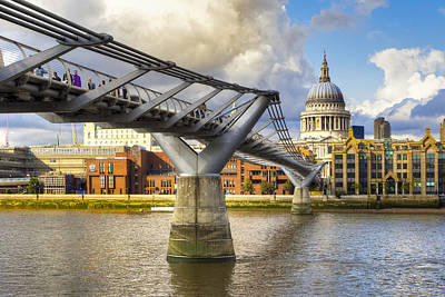 Old Meets New - St Paul's And The Millennium Bridge Poster by Mark E Tisdale